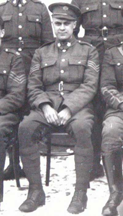photo of George Henry Beamish in uniform with fellow soldiers