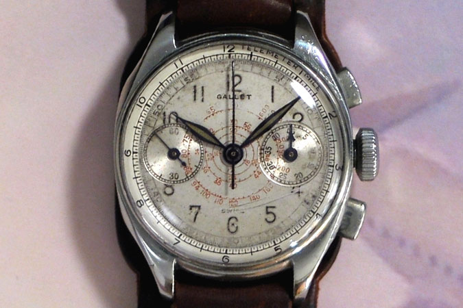 photograph of the front dial of Jim Hoel's chronograph