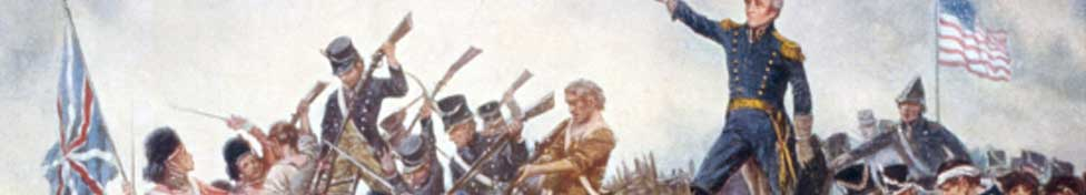 War of 1812 banner–painting of the Battle of Queenston Heights