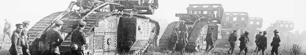 World War Two Banner. Photo of British Mark V Tanks With Crib Fascines 1918