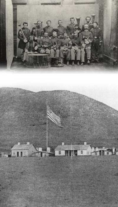photo of the camp that Moore served at and photo of his company's band