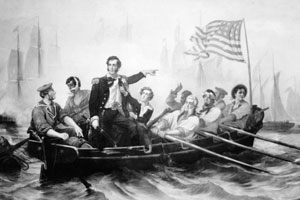 A painting of Oliver Hazard Perry in a small craft commanding his men into battle.